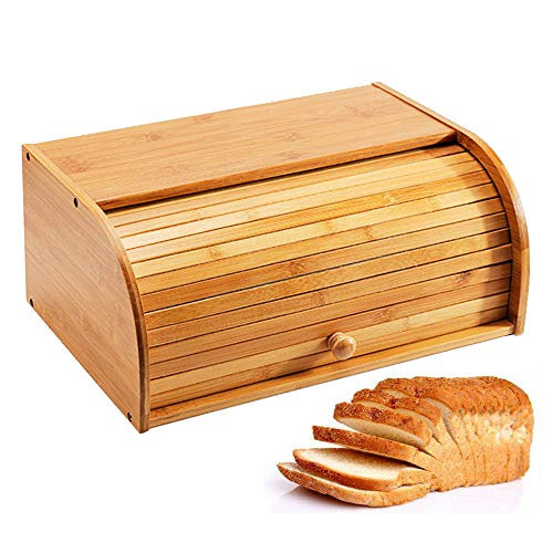 Jolitac Bamboo Bread Box - Countertop Bread Storage Bin Bamboo Roll Top Bread Box Kitchen Food Storage Large Capacity Bread Keeper 100% Bamboo