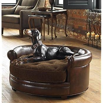 Amazon.com : Round Plush Faux Leather Dog Bed | Extra