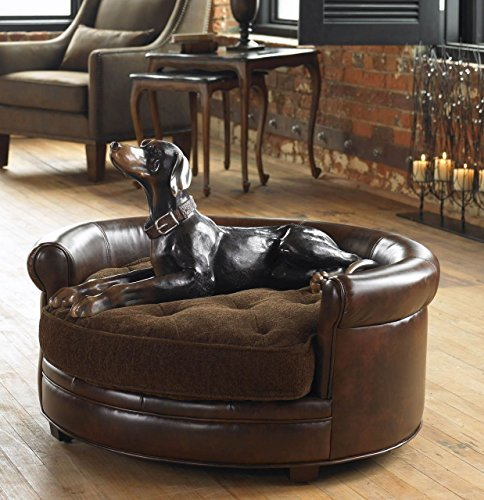 Round Plush Faux Leather Dog Bed | Extra Large Pet Brown
