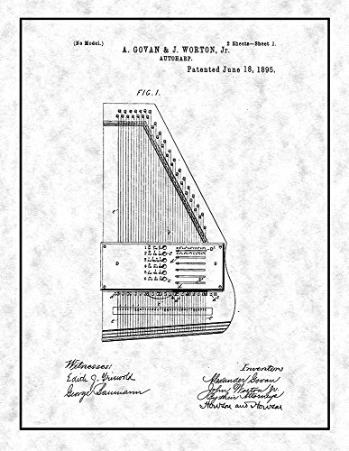 Autoharp Patent Print Art Poster on Acid-Free Heavyweight Gunmetal Parchment Paper