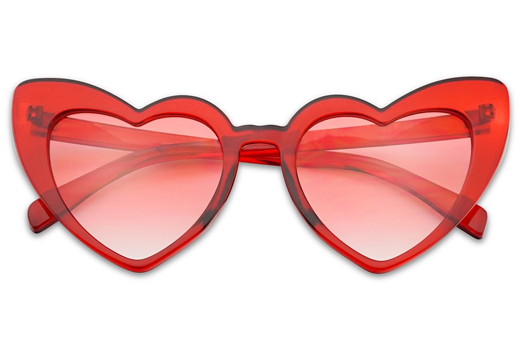 SunglassUP - Oversized High Tip Pointed Heart Shaped Colorful Love Sunglasses (Red Crystal Frame | Pink) by SunglassUP
