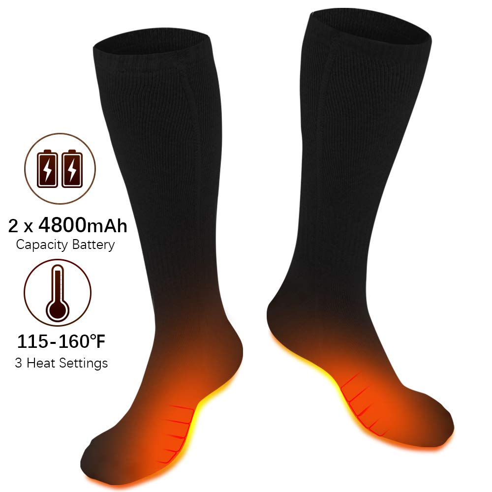XBUTY Heated Socks for Men/Women - Upgraded Rechargeable Electric Socks with 4800mAh Large Capacity Battery- Up to 16 Hours of Heat, Upgraded Heating Element up to 160℉, 3 Heat Settings, Black by XBUTY