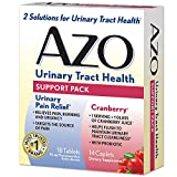 AZO Urinary Tract Health Support Pack | 18 Urinary Pain Relief Tablets Relieve UTI Pain, Burning & Urgency | 14 Cranberry Caplets with Probiotic Helps Flush To Maintain Urinary Tract Cleanliness*
