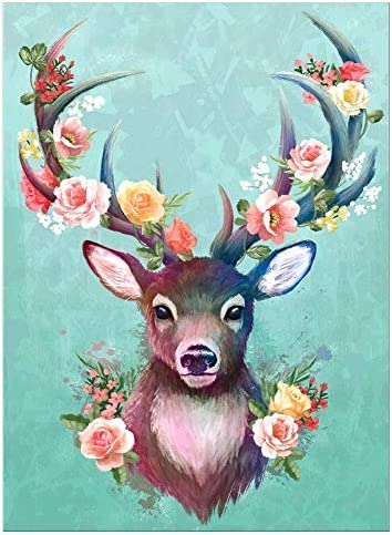 DIY 5D Diamond Painting Kits for Adults Round Full Drill Arts Picture Craft Canvas for Home Wall Decor Gift 11.8x15.7 (Colorful Deer)