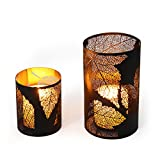 Asense Metal Candle Holder and Lantern Hurricanes, Each Holds 1 Pillar Candle, No include Candle Set of 2 (Black Maple Leaf)