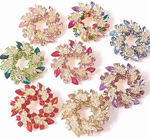 Plaque Or Noble Strass Cristal Multicouleur Bouquet de Fleurs Dames Broche