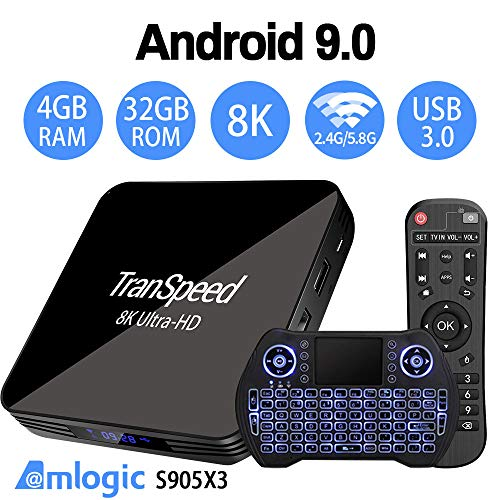 Android TV Box 9.0 Amlogic S905X3 2.4G 5.8G Dual Band WiFi 4GB 32G Bluetooth 4.1 with Backlit Mini Keyboard 3D Ultra-HD 4K 8K Streaming Media Player Set Top Tv Box