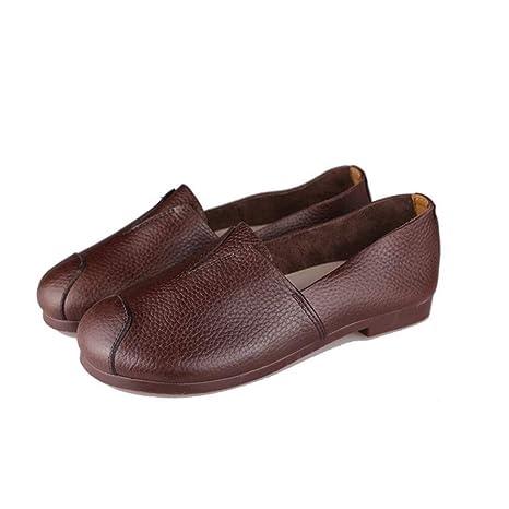 Zapatos De Mujer Suave Cuero Real Plano Suela De Caucho Slip-On Talón Bajo Platform