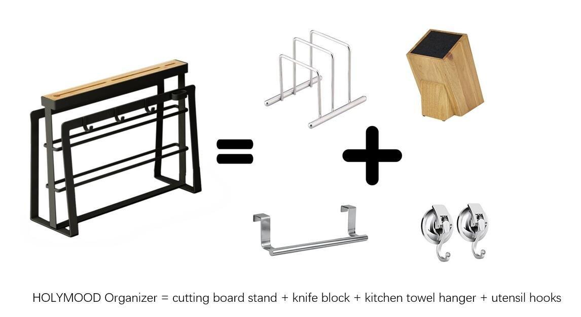 HOLYMOOD Kitchen Houseware Organizer Knife Block Storage Drying Rack Cutting Board Stand Tools Holder 10 in 1