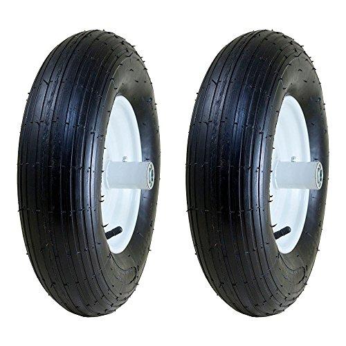 "Marathon 4.80/4.00-8, 6"" Hub Pneumatic Ribbed Tread Wheelbarrow Tire (2 Pack)"
