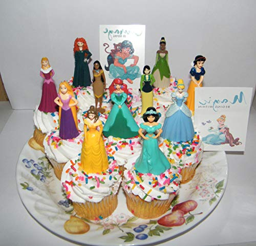 Disney Princess Deluxe Cake Toppers Cupcake Decorations Set of 13 with 11 Topper Figures and 2 Princess Tattoos featuring Belle, Ariel, Cinderella and More!