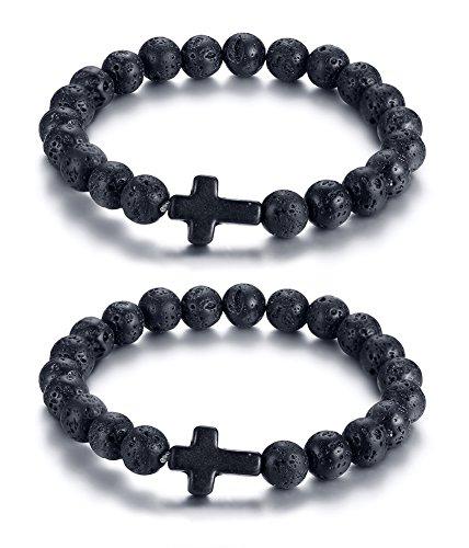 PJ Jewelry Black Lava Rock Stone Beads Sideways Cross Charm Stretch Bracelet for Christian