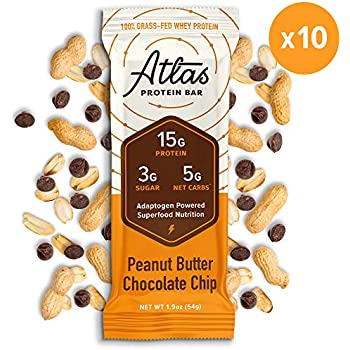 Atlas Protein Bar - Keto Friendly, Peanut Butter Chocolate Chip - Grass Fed Whey, Low Sugar, Clean Ingredients, Gluten Free, Soy Free, and GMO Free - (10-Pack)