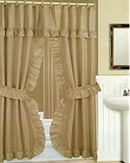 Wonderful Double Swag Shower Curtain With Liner Set, Taupe (Tan), 70x72  Double Swag Shower Curtain