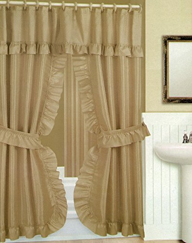 Double Swag Shower Curtain With Liner Set Taupe Tan 70x72
