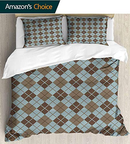 Brown and Blue 3 PCS King Size Comforter Set,Argyle Pattern with Diamond Shaped Rectangles Lines Abstract Geometric luxury Decor Bedding Set 1 Duvet Cover 2 Pillow 79