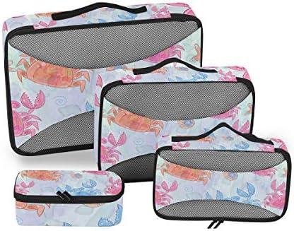 かわいいカラフルなカニアート荷物パッキングキューブオーガナイザートイレタリーランドリーストレージバッグポーチパックキューブ4さまざまなサイズセットトラベルキッズレディース