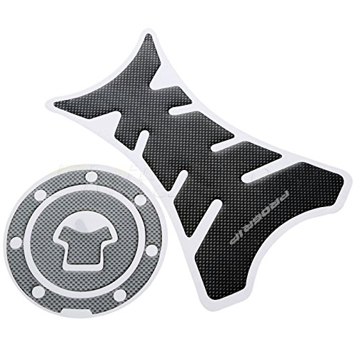 Transport-Accessories - Motorcycle Decorating Decal Fuel Tank Pad Sticker Protector Sticker + Fuel Gas Cap Cover for Honda CBR600RR 1000 RR Carbon Fiber
