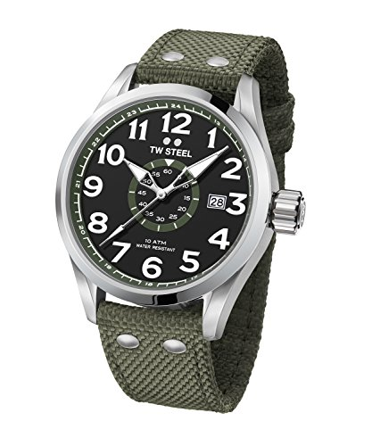TW Steel Men's Volante Stainless Steel Japanese-Quartz Watch with Nylon Strap, Green, 24 (Model: VS22)