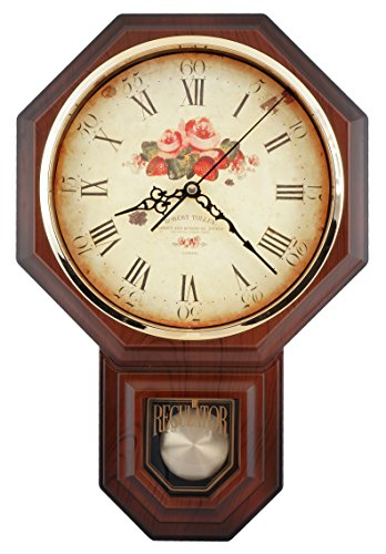 (Vintage Rose Classic Traditional Schoolhouse Pendulum Wall Clock Chimes Every Hour With Westminster Melody Made in Taiwan, 4AA Batteries Included (PP0258-F Dark Wooden Grain))