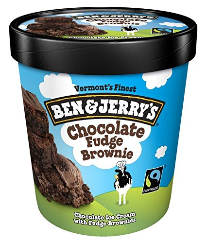 Ben & Jerry's - Vermont's Finest Ice Cream, Non-GMO - Fairtrade - Cage-Free Eggs - Caring Dairy - Responsibly Sourced Packaging, Chocolate Fudge Brownie, Pint (8 Count) ()