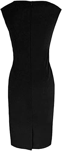 DELEY damski okrągły dekolt bez rękawÓw Business Slim Bodycon Workwear Pencil Dress: Odzież