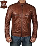 Decrum Moto Leather Jacket Men - Brown Quilted Mens Leather Jackets - Austin L