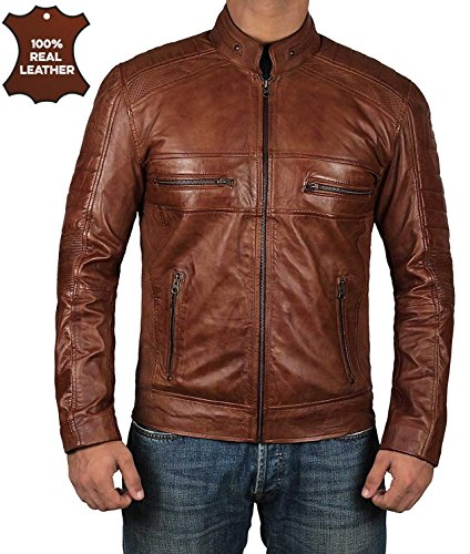 Decrum Moto Leather Jacket Men - Brown Biker Mens Leather Jackets