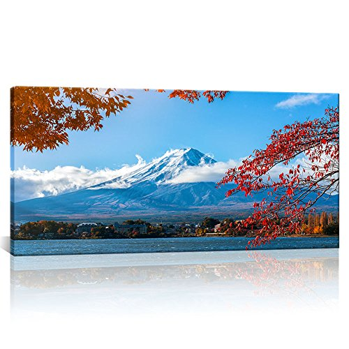 Large Canvas Wall Art Mount Fuji and Lake in Autumn Landscape Prints Modern Home Decor Framed for Living Room Ready to Hang 24
