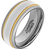 HSG Men's 8mm Engagement Tungsten Carbide Two 18K Gold Plating Grooves Polished Wedding Rings