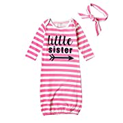 HBER Baby Girls Little Sister One Size Long Sleeve Stripe Gowns Pajamas Sleepwear Bag Outfits Set With Headband