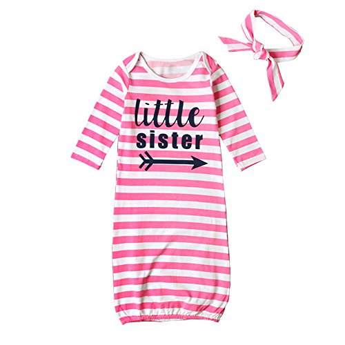 HBER Baby Girls Little Sister One Size Long Sleeve Stripe Gowns Pajamas Sleepwear Bag Outfits Set With (Band Pajama)