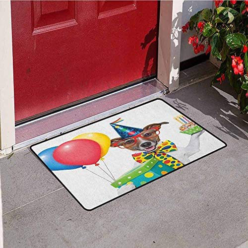 GloriaJohnson Kids Birthday Inlet Outdoor Door mat Waiter Server Party Dog with Hat Cone Cupcake Balloons Celebration Boxes Catch dust Snow and mud W23.6 x L35.4 Inch Multicolor