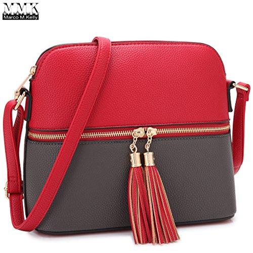 MMK collection Fashion Packlock Handbag for Women` Signature fashion Designer Purse with spring colors~Perfect Women Satchel Purse ~ Beautiful Designer Tote handbag (Crossbody-7660 Red/Grey)