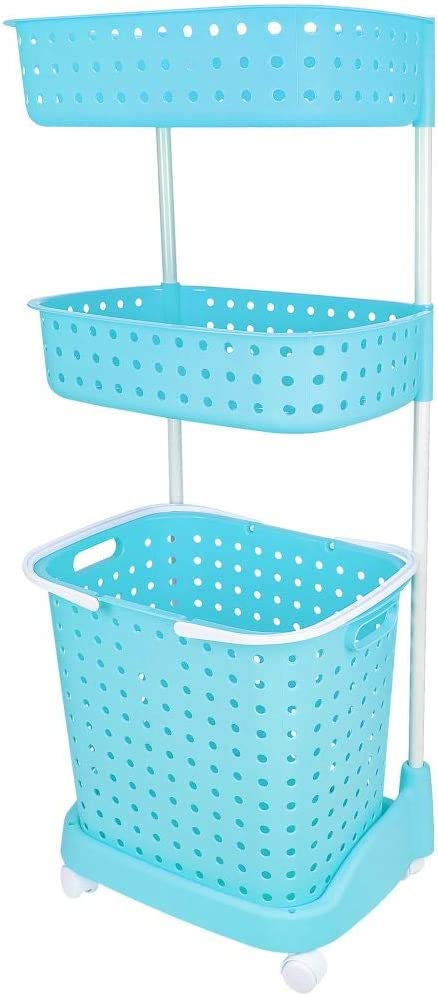 3 Tier Rolling Laundry Basket W Shelves Storage Organizer for Clothes Detergent Great for Bathroom Kitchen Laundry Room Blue