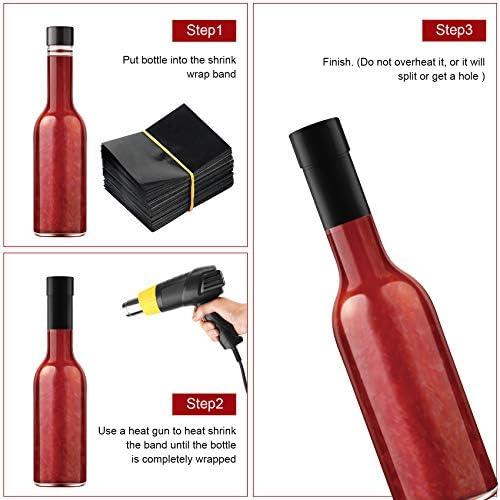beverage bottle shrink Black 55x60 Heat Shrink Neck Wrap Band Liquor 250 Pack