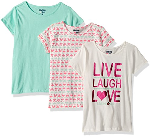 Limited Too Girls' Big 3 Pack T-Shirt, Live Laugh Love Hearts Solid Multi Print, 14/16