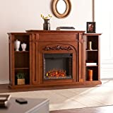 Southern Enterprises Chantilly Bookcase Electric Fireplace, Autumn Oak