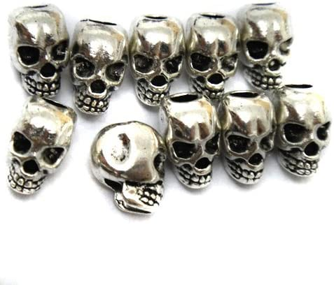 24 Steampunk Skull Bead Antique silver finish 7mm JEWELRY CRAFT FINDINGS