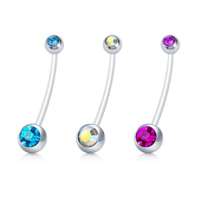 Jforyou Belly Button Ring Sports Or Pregnancy Flexible Long Belly Rings Shining Cz Ball Navel Bar Retainer 14g 1 6mm 1 1 2 Inch Length Body Piercing