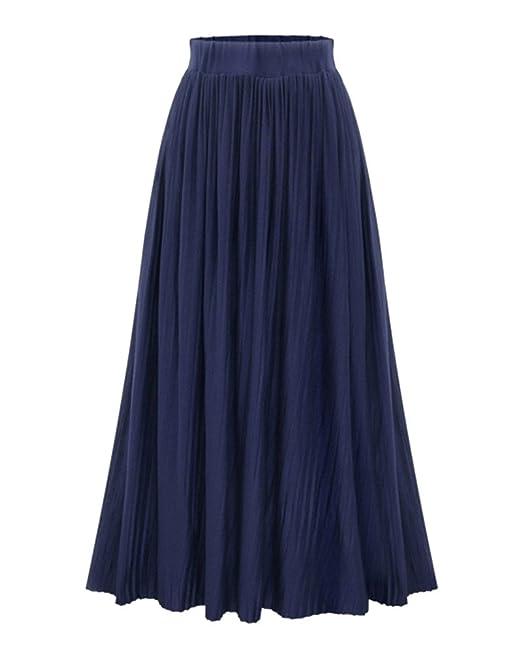 diseño exquisito fábrica auténtica salida para la venta ZhuiKun Maxi Falda Plisada para Mujer Falda Larga de Talle ...