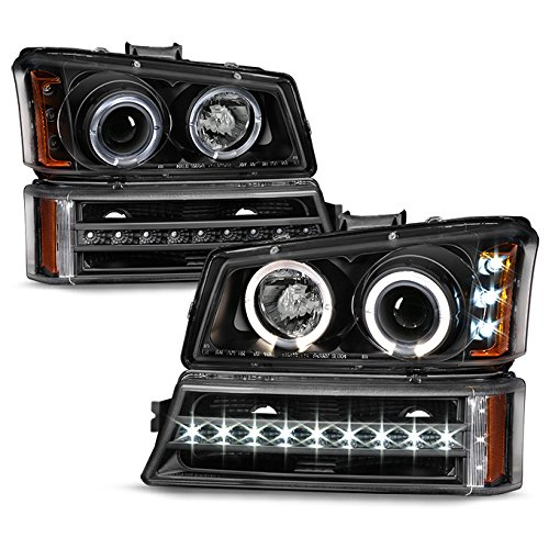 For 2003-2006 Chevy Silverado Left + Right Replacement Black LED Halo Head Lights + LED DRL Signal Lamps