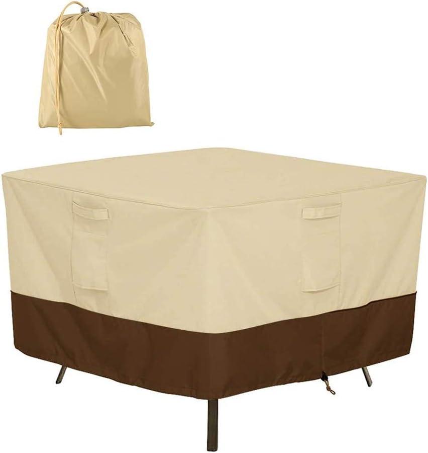Cubierta de mesa cuadrada para patio, 420D Fundas para muebles de exterior impermeables de alta resistencia Se adapta a una mesa rectangular rectangular pequeña / mediana ovalada,Beige,152×152×58CM