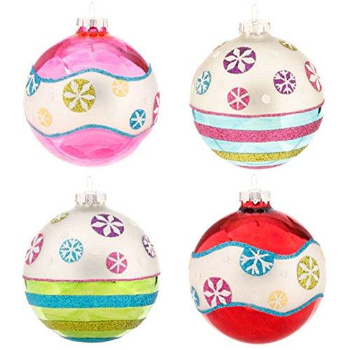RAZ Imports - 4 Inch Glittered Snowflake Ball Ornaments - 2 Sets of 4 (8 Ornaments)