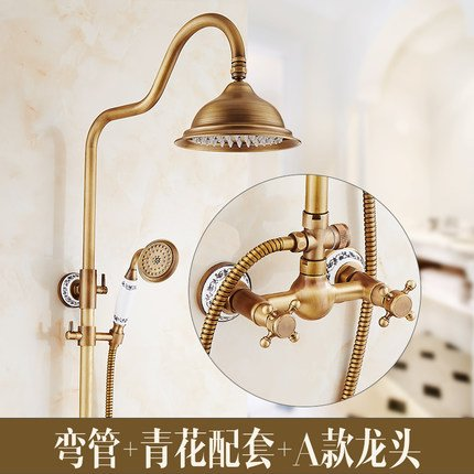 A3 GFEI European style antique shower   full copper hot and cold faucet set   Retro shower, bright toilet, bathroom, shower, constant temperature shower,A