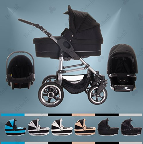 Bebebi | Modell London | 3 in 1 Kinderwagen Set | Hartgummireifen | Farbe: Tower Bridge