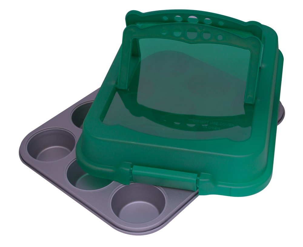 OvenStuff Non-Stick 12 Cup Muffin Pan with Matching Spring Green Cover and Handles