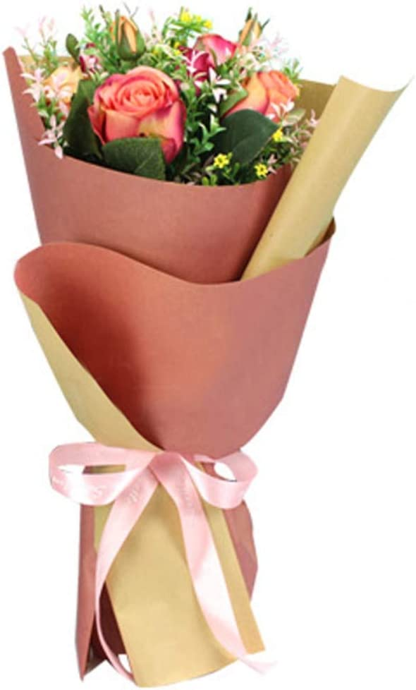 BBC Korean Style Double Colors Craft Paper Flower Bouquet Wrapping Paper Floral Wraps Supplies 20 Sheets 23.6x23.6 inch Pink