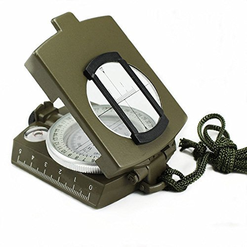 TFSeven Metal Waterproof Pocket Military Army Geology Compass Navigator with Foldable Metal Lid for Outdoor Activities Hiking Camping Climbing Biking