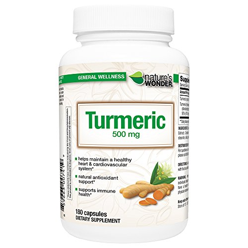 Nature's Wonder Turmeric 500mg Supplement, 180 Count